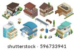 building and shop isometric.  ... | Shutterstock .eps vector #596733941