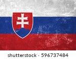 slovakia   slovak flag on old... | Shutterstock . vector #596737484