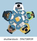 five people team sitting and... | Shutterstock .eps vector #596738939