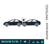 car accident icon flat. black...   Shutterstock .eps vector #596752421