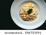 classic pasta carbonara italian ... | Shutterstock . vector #596753591