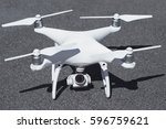drone with camera close up on... | Shutterstock . vector #596759621