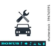 car service icon flat. black... | Shutterstock .eps vector #596765591