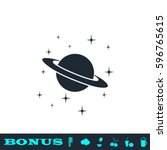 planet saturn icon flat. black... | Shutterstock .eps vector #596765615