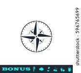compass icon flat. black...