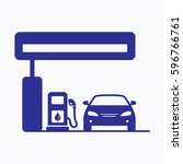 petrol station icon. flat... | Shutterstock .eps vector #596766761