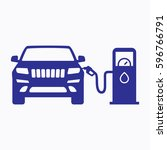 petrol station icon. flat... | Shutterstock .eps vector #596766791