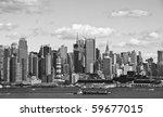 photo new york cityscape over the hudson river - stock photo