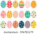 colorful easter eggs with... | Shutterstock .eps vector #596781179
