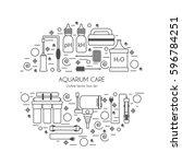 aquarium care vectors in...   Shutterstock .eps vector #596784251