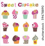 colorful cupcake set | Shutterstock .eps vector #59678890