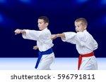on a dark blue background... | Shutterstock . vector #596791811