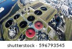 aerial top down view flying... | Shutterstock . vector #596793545
