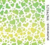 vector green gradient hearts... | Shutterstock .eps vector #596795171