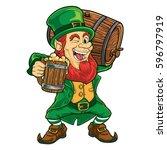 leprechaun holding wooden beer... | Shutterstock .eps vector #596797919