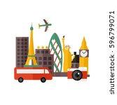 world travel design vector... | Shutterstock .eps vector #596799071