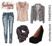 vector fashion set of women... | Shutterstock .eps vector #596805401