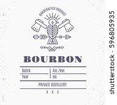 vintage bourbon label design... | Shutterstock .eps vector #596805935