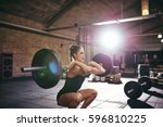 young muscular woman in