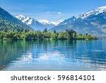 zell am see  snowy mountain... | Shutterstock . vector #596814101