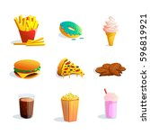 fast food cartoon icons set... | Shutterstock .eps vector #596819921