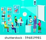 composition of modern education ... | Shutterstock .eps vector #596819981