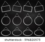 chalkboard style hanging frames ... | Shutterstock .eps vector #596820575