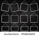 chalkboard style hanging frames ... | Shutterstock .eps vector #596820605