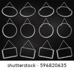 chalkboard style hanging frames ... | Shutterstock .eps vector #596820635