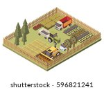 agricultural vehicles isometric ... | Shutterstock .eps vector #596821241