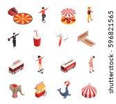 circus isometric set of manege... | Shutterstock .eps vector #596821565