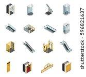 elevator lift escalator... | Shutterstock .eps vector #596821637
