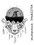 abstract vintage animal skull...   Shutterstock .eps vector #596822759