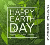 happy earth day flat card or... | Shutterstock .eps vector #596830781