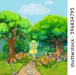 Fairy Walking On A Path Throug...