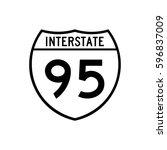 interstate highway 95 road sign.... | Shutterstock .eps vector #596837009
