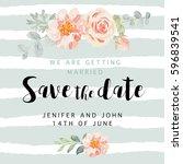wedding invitation card... | Shutterstock .eps vector #596839541
