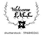 welcome fall hand lettering... | Shutterstock .eps vector #596840261