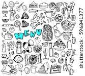 hand drawn food elements. set... | Shutterstock .eps vector #596841377
