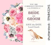 wedding invitation with flowers | Shutterstock .eps vector #596842241