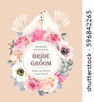 wedding invitation with flowers | Shutterstock .eps vector #596842265