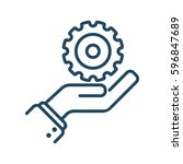 hand holding gear vector icon... | Shutterstock .eps vector #596847689