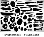 Set of black hand drawn grunge elements, geometrical shapes, rings, circles, banners, brush strokes isolated on white. Vector illustration.
