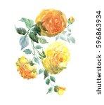 yellow roses garland. ... | Shutterstock . vector #596863934