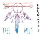 sketch of native american... | Shutterstock .eps vector #596871575