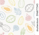 pattern of exotic fruits. on a... | Shutterstock .eps vector #596877545