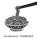 doodle noodle at bowl and stick.... | Shutterstock .eps vector #596881835