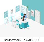 flat 3d illustration isometric... | Shutterstock .eps vector #596882111