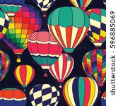colorful retro pop hot air... | Shutterstock .eps vector #596885069