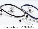 two disassembled stethoscope on ... | Shutterstock . vector #596888555